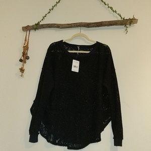 Free People black lace sweater